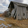 Derelict old tool barn in the middle of the pump fields of Oil Springs, Ontario.(original colour version)